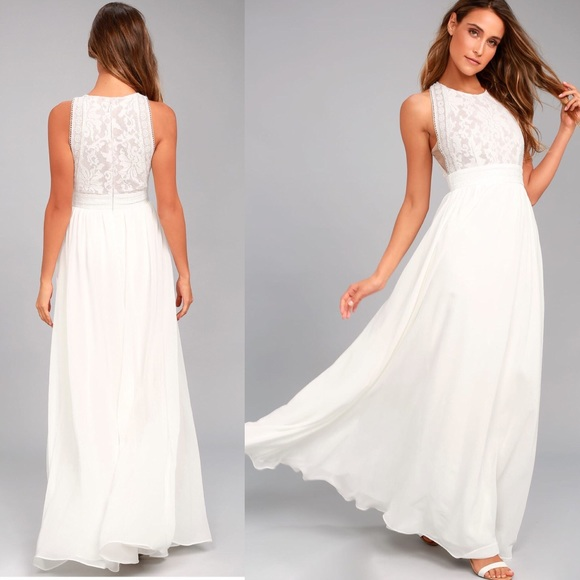 Lulu s Dresses   Skirts - Lulus forever   always white lace maxi dress f40695588